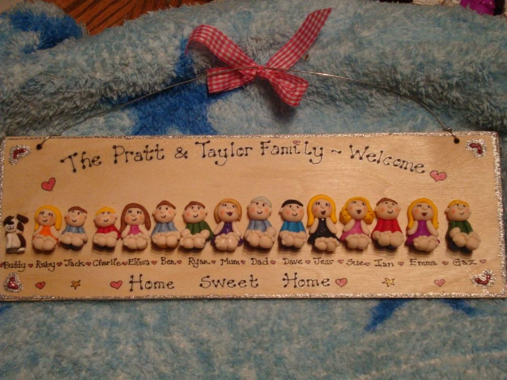 15/16 CHARACTER LARGE 3d FAMILY OR TEACHER SIGN PLAQUE PEOPLE PETS